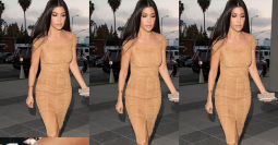 FOTO: Seksinya Kourtney Kardashian Pakai Dress Nude